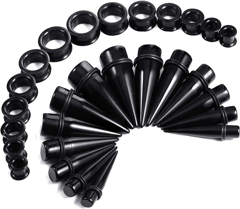 1XRhinestone Crystal Screw Tunnel Ear Expander Stretch Plugs Piercing Gauge bk