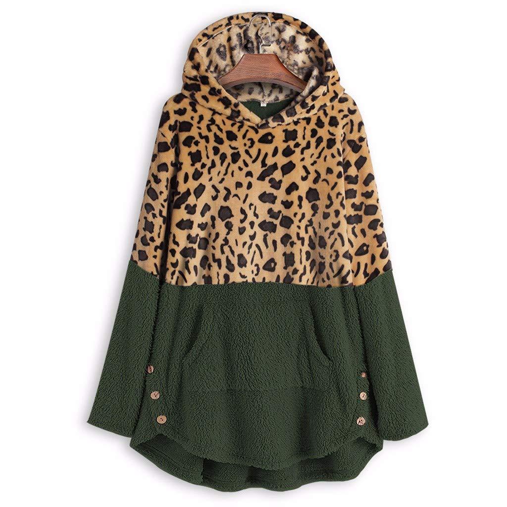 BEUU Women Cardigan Sweater with Hood,Warm Comfy Soft Hoodie Long Sleeve Pocket Sweatshirt Button Solid Fleece Tops