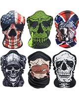 Outdoor Skull Face Mask 6PCS,Multifunctional Seamless Headwear and Tube Bandana for Motorcycle Hiking Cycling Ski Snowboard