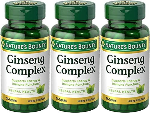 Nature s Bounty Ginseng Complex Herbal Health, 225 Capsules 3 X 75 Count Bottles