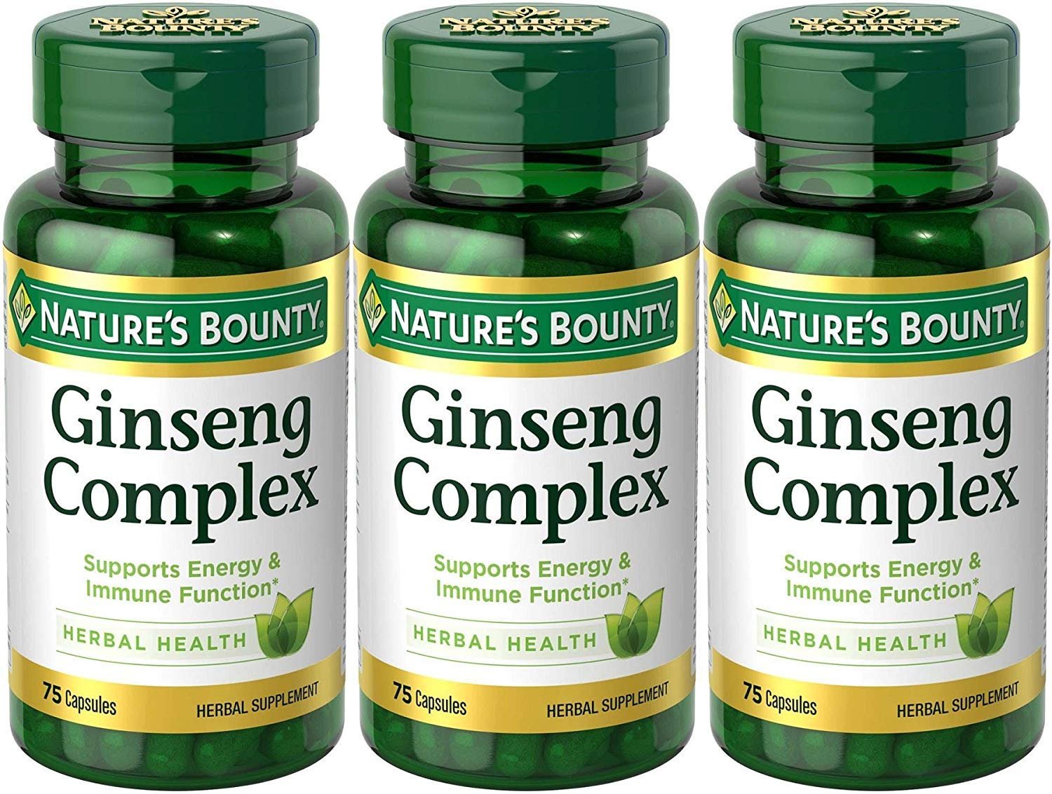 Nature's Bounty Ginseng Complex Herbal Health, 225 Capsules (3 X 75 Count Bottles)