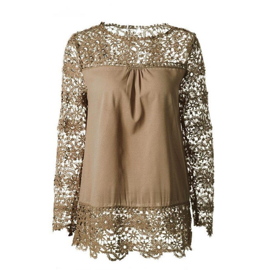 Women Plus Size Hollow Out Lace Splice Long Sleeve Shirt Casual Blouse Loose Top(Khaki,Medium) by iQKA (Image #2)