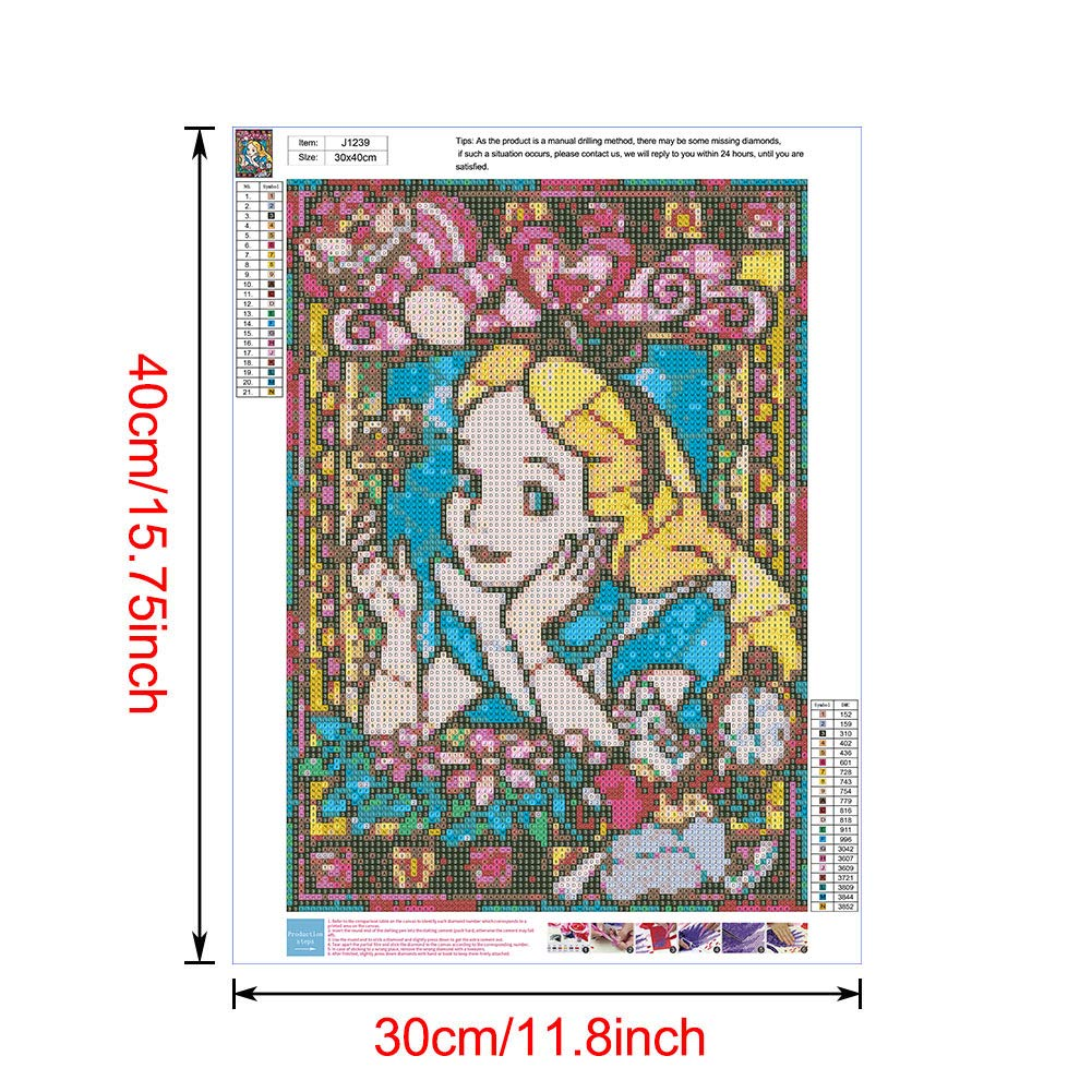 Diamond Painting Kits for Adults Cartoon-J1414, 12x16inch DIY 5D Round Full Drill Art Perfect for Relaxation and Home Wall Decor
