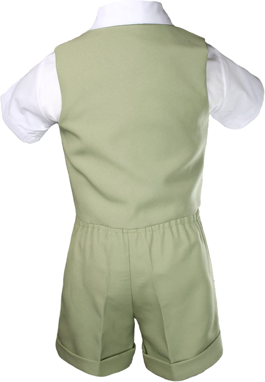 Baby Boy Toddler Wedding Formal Bow Tie Khaki Shorts Vest Set Eton Suit Sz S-4T