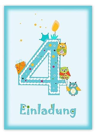12 Einladungskarten Kindergeburtstag Zum 4. Geburtstag In Blau Mit Eulen    Geburtstagseinladung Mit Eule Für