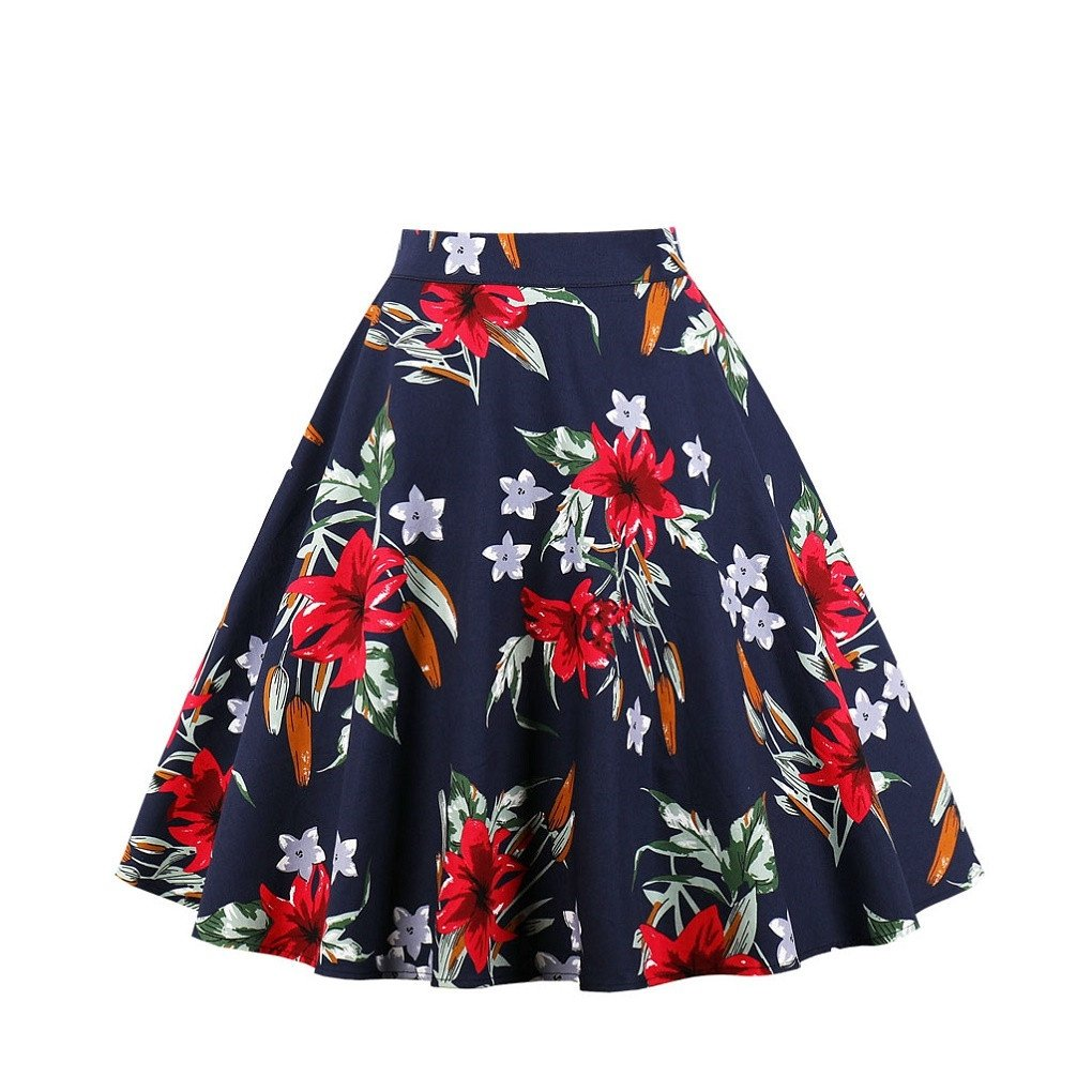 Fendxxxl Women's Vintage Flare Pleated Umbrella Skirt High Waist A-Line Midi Skirts 1657 Navyred S