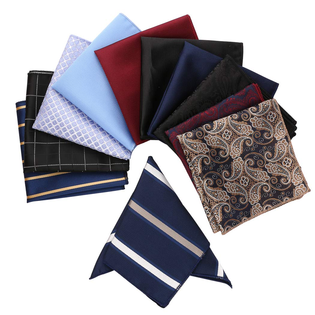 Driew 11 Pcs Men Suit Pocket Square Handkerchiefs with Assorted Pattern