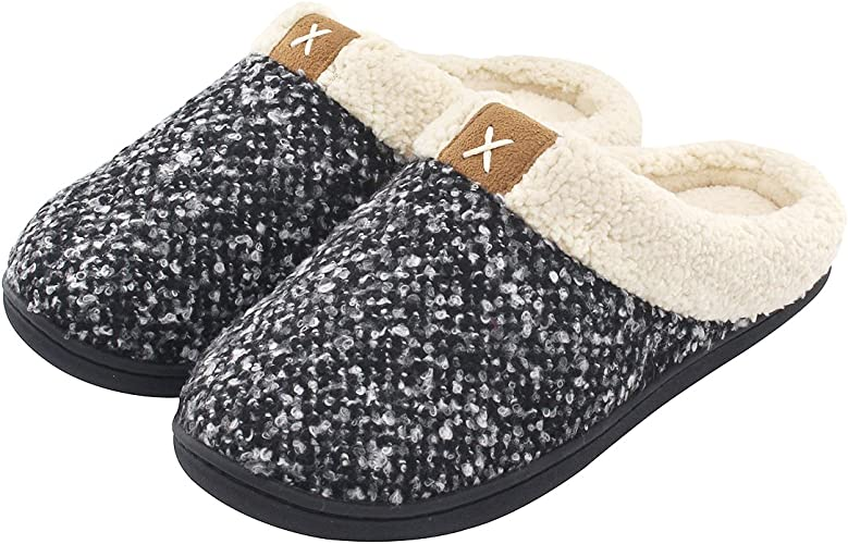 ULTRAIDEAS Women's Cozy Memory Foam Slippers Fuzzy Wool Like Plush Fleece Lined House Shoes wIndoor, Outdoor Anti Skid Rubber Sole