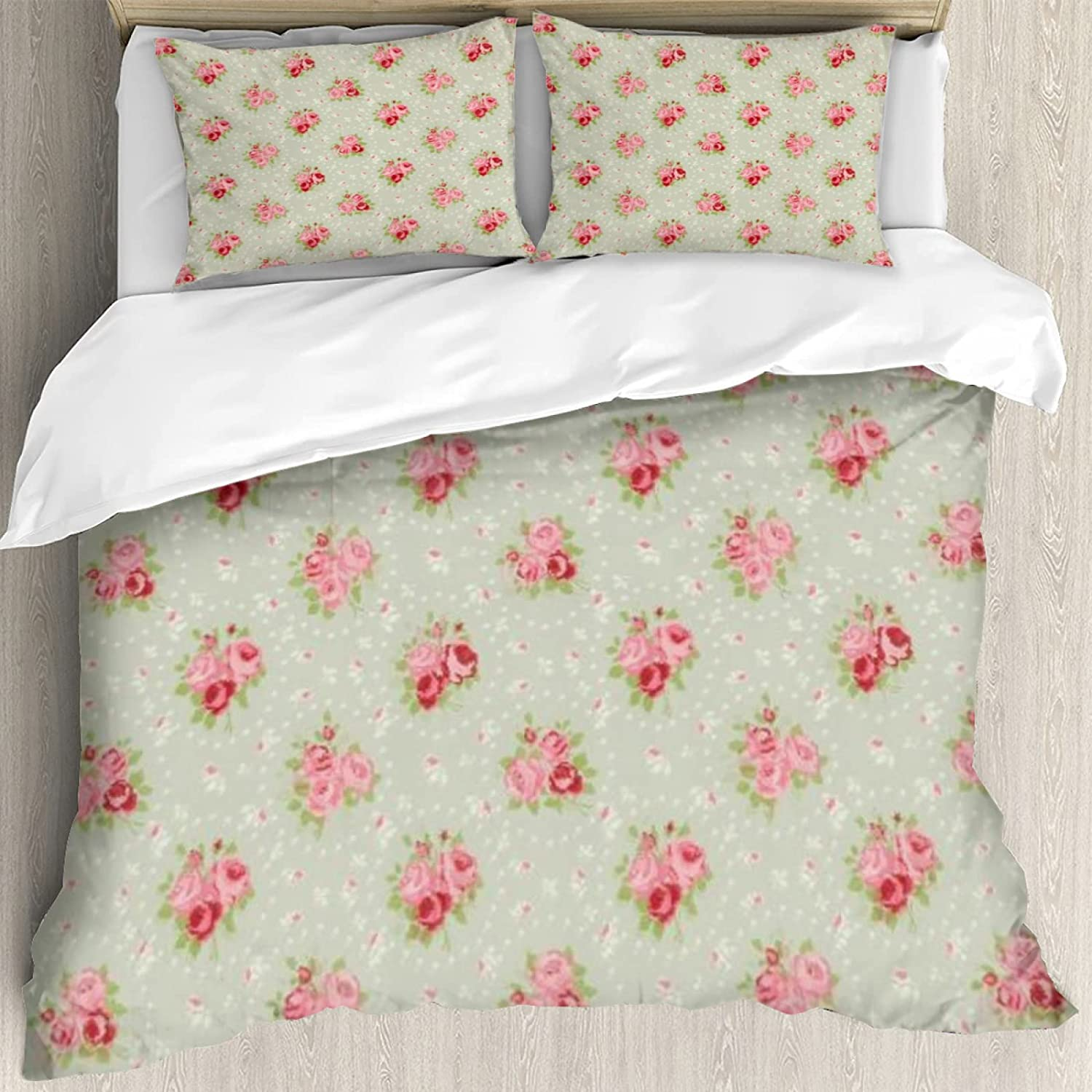 Duvet Cover Set 60x80inch,Shabby Chic English Roses Feminine Spring Garden Flourish Retro Style,Decorative 3 Piece Bedding Set with 2 Pillow Shams, Twin/Full/Queen/King Size yyj