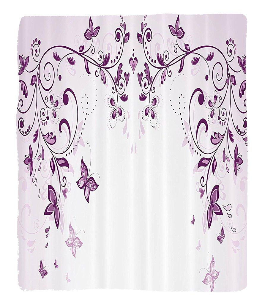 Chaoran 1 Fleece Blanket on Amazon Super Silky Soft All Season Super Plush ymmetric Victorian Period Inspiredpring Flower withwirls Ceremony Woman Artsy Print Fabric et Violet by chaoran (Image #1)