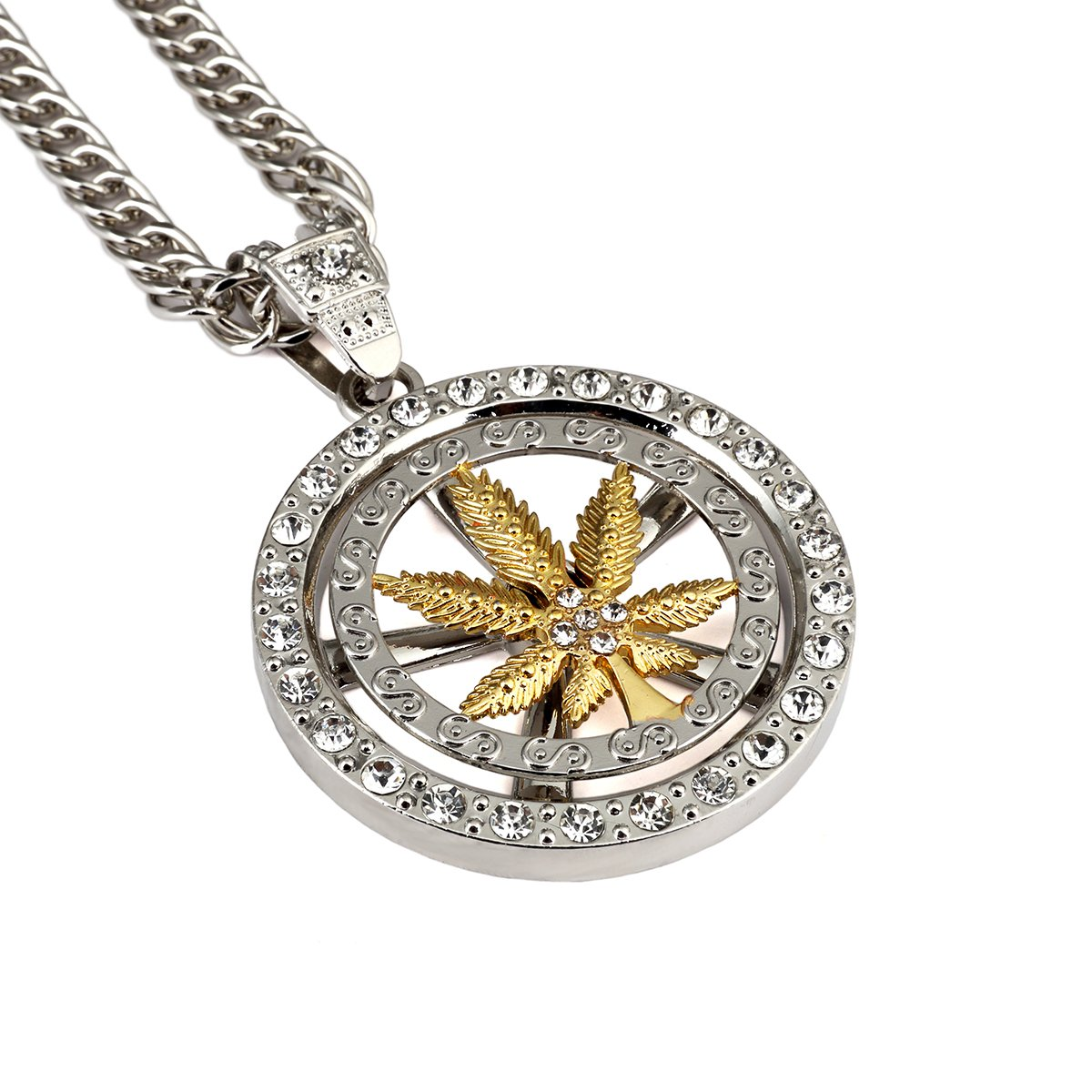 Hip Hop Necklace Hemp Leaf Round Pendant Long Chain Gold Plated Necklace Jewelry MCSAYS XH1007_Silver