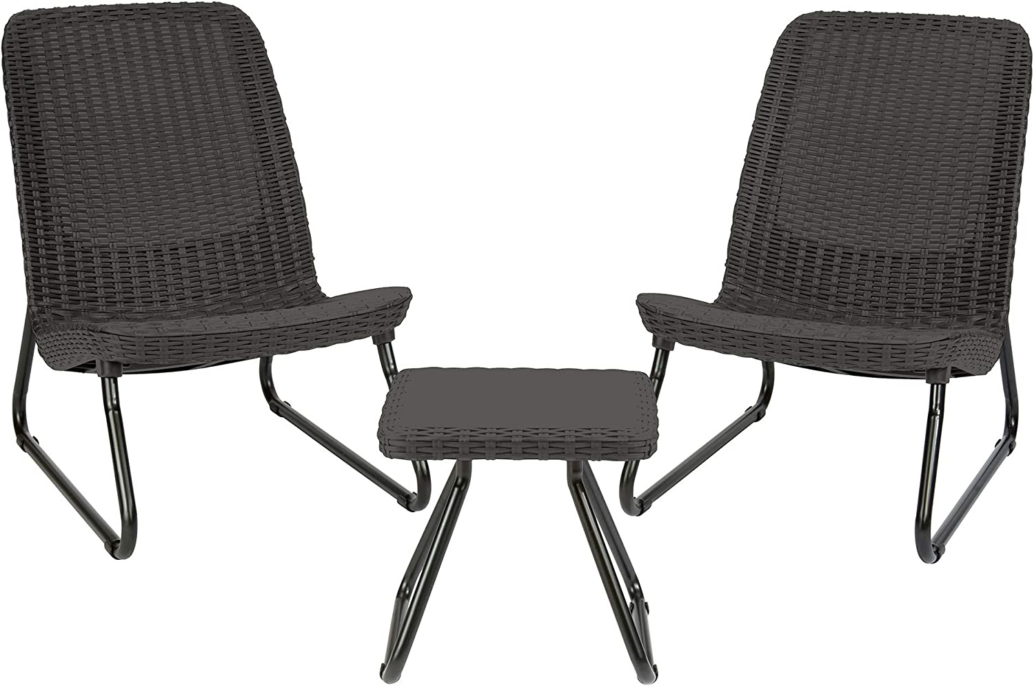 Keter Rio 3 Pc All Weather Outdoor Patio Garden Conversation Chair Table Set Furniture, Grey