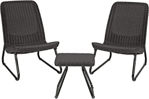 Keter Resin Wicker Patio Furniture Set with Side Table and Outdoor Chairs, Dark Grey