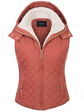 48613af8a83 KOGMO Womens Quilted Lightweight Hoodie Vest with Sherpa Line Detail-S -Dusty Pink