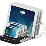 Spater 7-Port USB Charging Station Multi-Port Stand Dock Desktop Organizer for iPhones, iPads, Tablets, Samsung Galaxy, Nexus, HTC and More (White Charging Cables not Included)