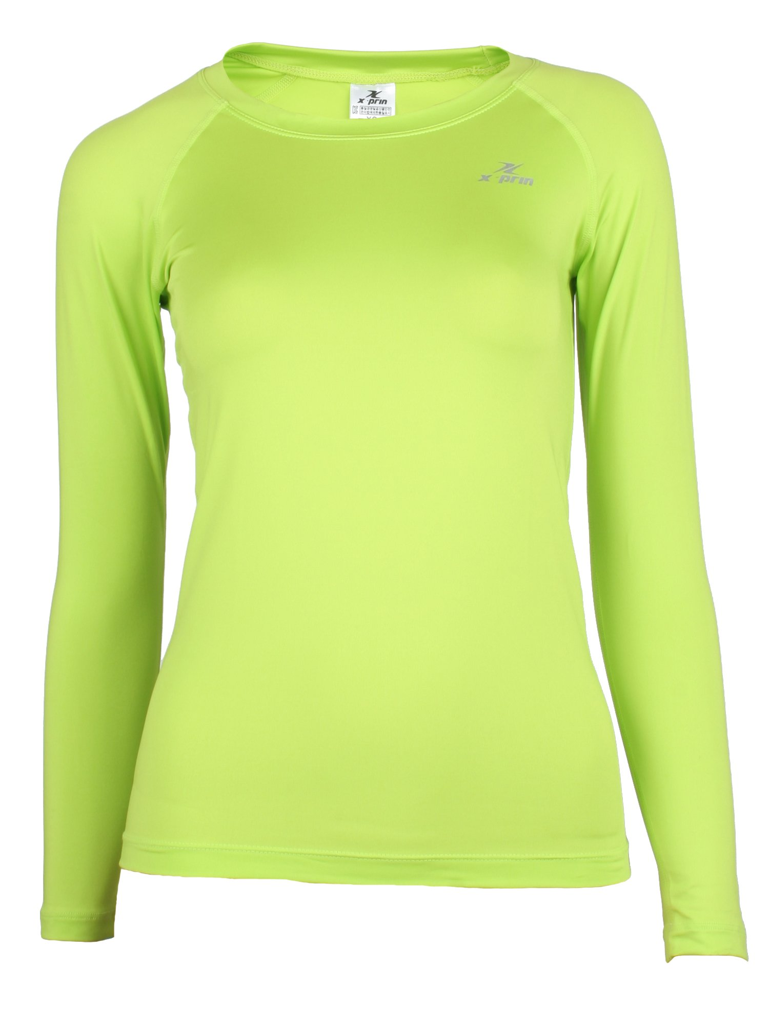 XPRIN A100 Series Women's Long Sleeve Cool Base Layer Compression Shirt Sports Wear (S, A104GREEN)