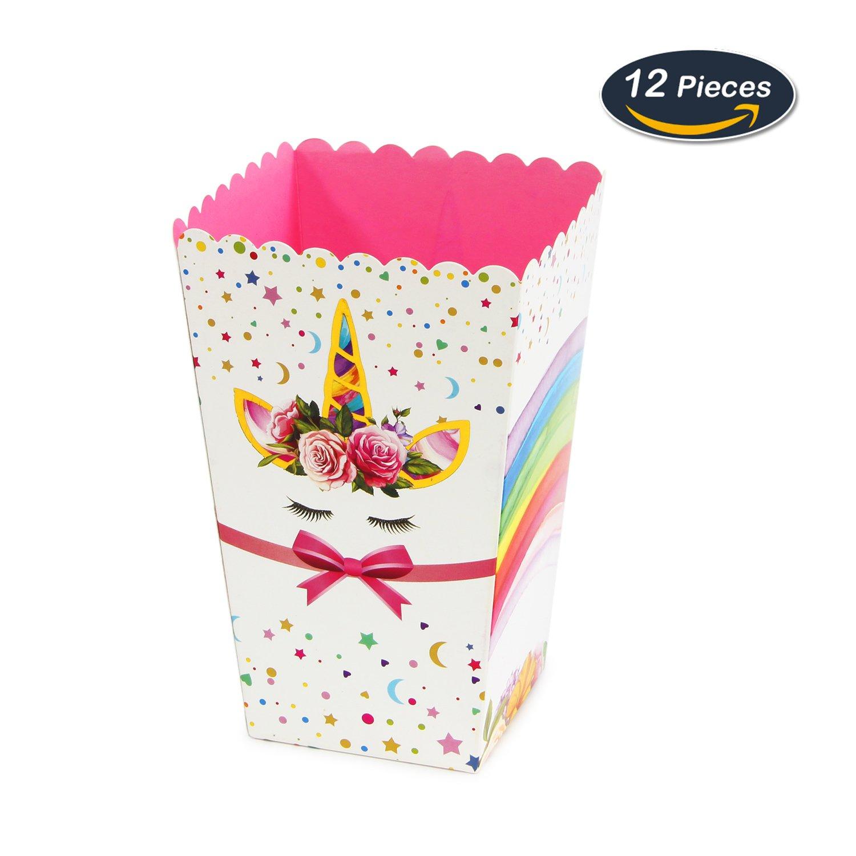 WERNNSAI Fournitures de Fête Popcorn Boîtes Maïs Soufflé Sac à Bonbons Collations Boîte en Carton de Licorne Arc-en-Ciel pour l'anniversaire Baby Shower 12 Pièces Assemblée DIY(Dessin animé)