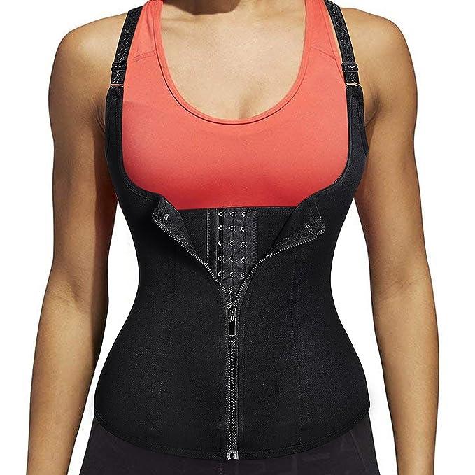 b29c40582a4 MUKATU Women s Zipper Waist Trainer Corset for Weight Loss Tummy Control  Body Shaper Vest with Adjustable