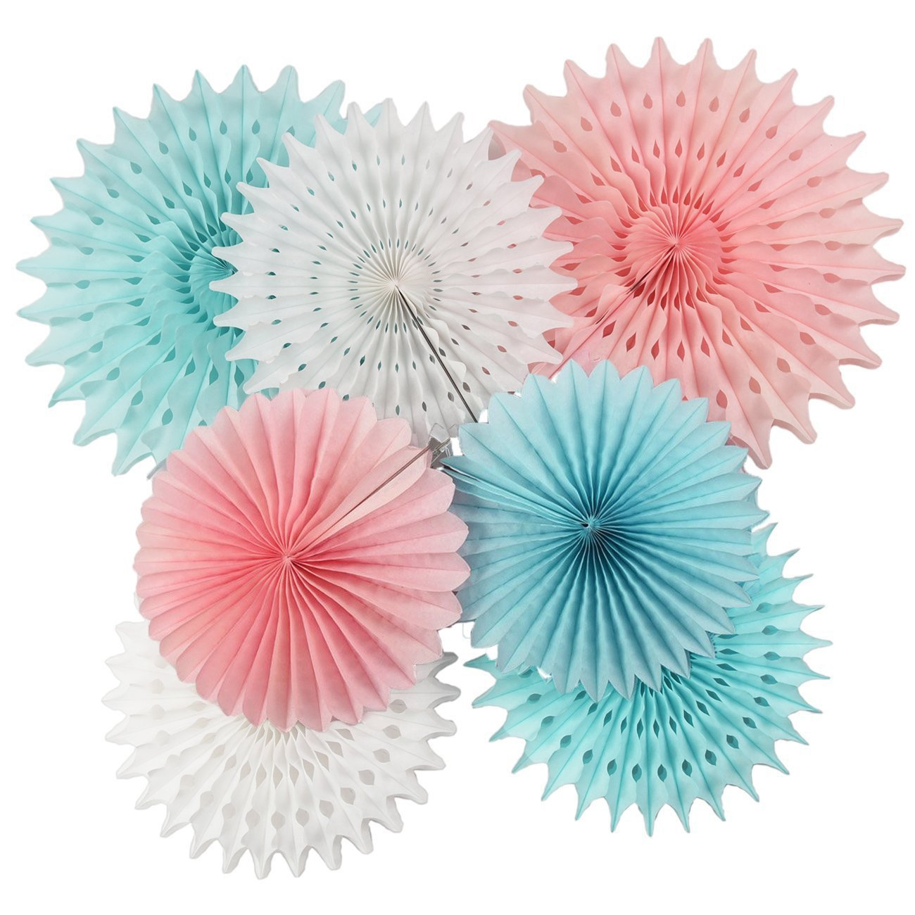 He or She Gender Reveal Party Supplies Pink Blue Tissue Paper Fans/ Tissue Paper Pom Pom Flower Pink Blue Boy or Girl Baby Sex Reveal Party Decor by Qian's Party