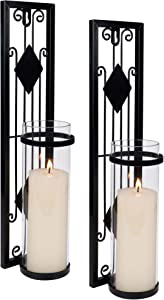 Shelving Solution Wall Sconce Candle Holder, Antique-Style Black Metal Wall Art Decorations for Living Room, Bathroom, Dining Room, Office, Set of 2