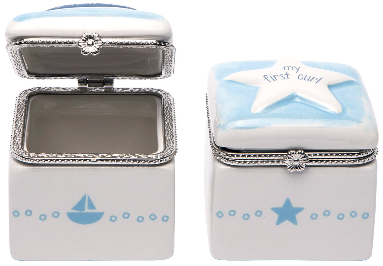 CRG Ceramic First Tooth and Curl Keepsake Box, Sailboat and Star C.R. Gibson BFTC-14424
