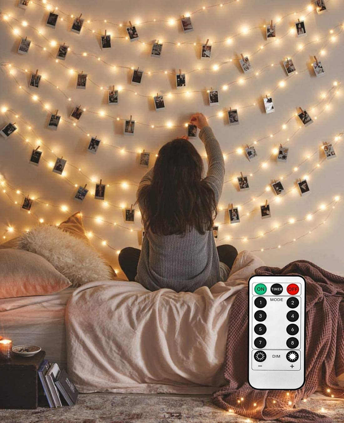 Amazon Com 8 Modes 40 Led Photo Clip String Lights With Remote Indoor Fairy String Lights For Hanging Photos Pictures Cards Ideal Gift For Bedroom Decoration Usb Powered 40 Led Garden Outdoor