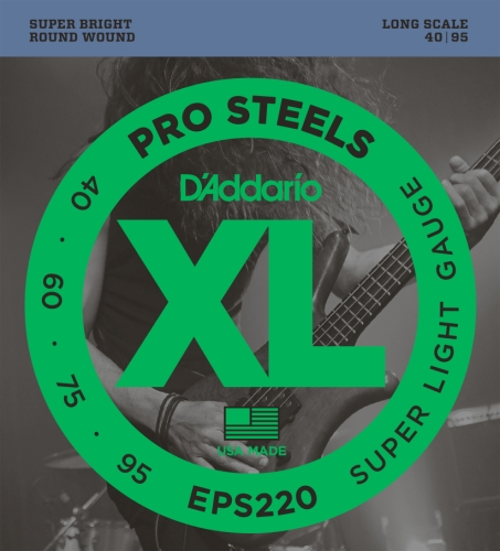 D'Addario EPS220 ProSteels Bass Guitar Strings, Super Light,