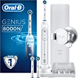 Oral-B Genius 8000N Elektrikli Diş Fırçası, Bluetooth Bağlantılı, 3 Fırça Başlığı, Seyahat Kılıfı, Beyaz/Gümüş