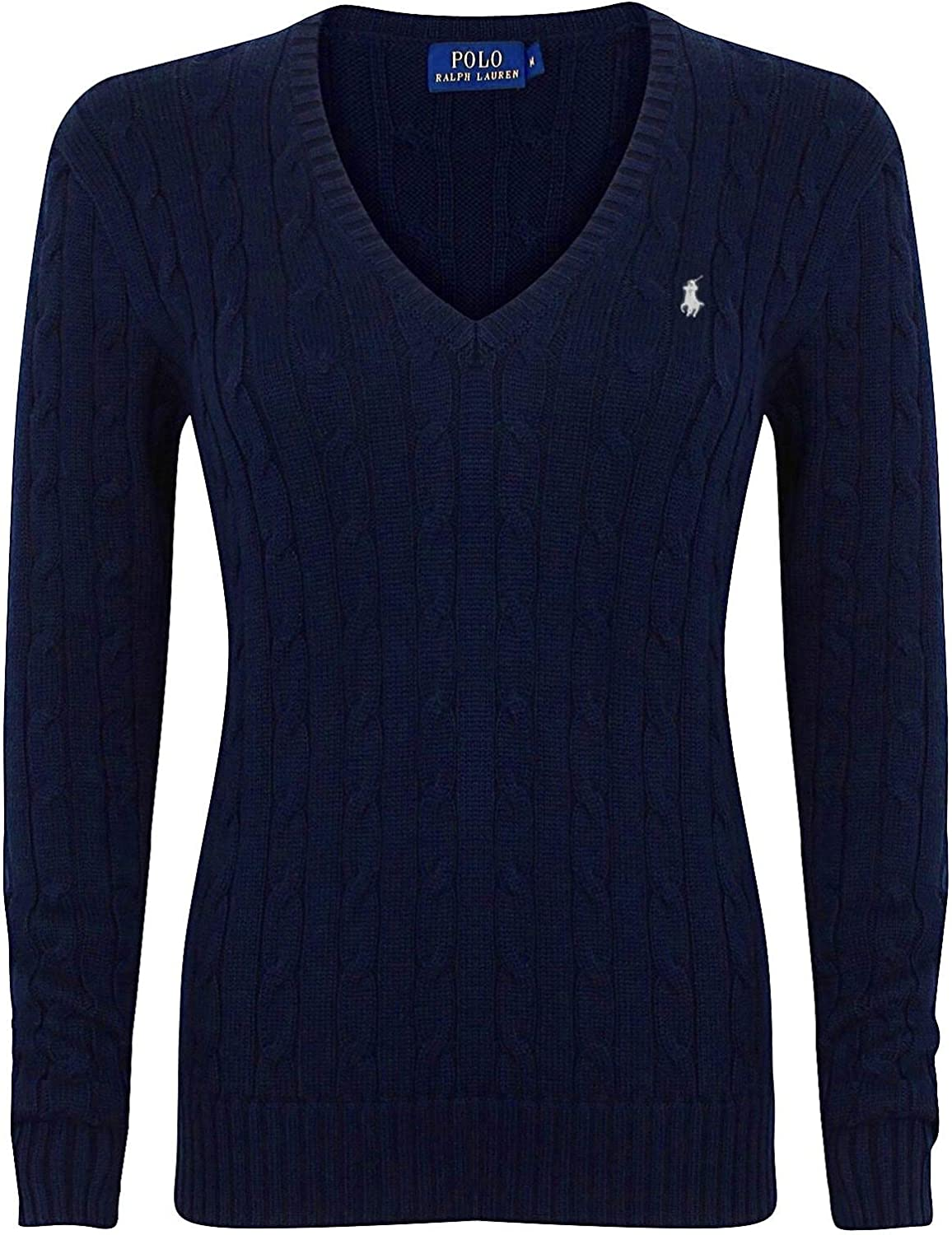 Polo Ralph Lauren Cable Knit V-Neck Cotton Jersey Kimberly Polo ...