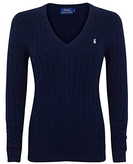 Ralph Lauren Polo Cable Knit V de Neck Cotton Jersey Kimberly ...