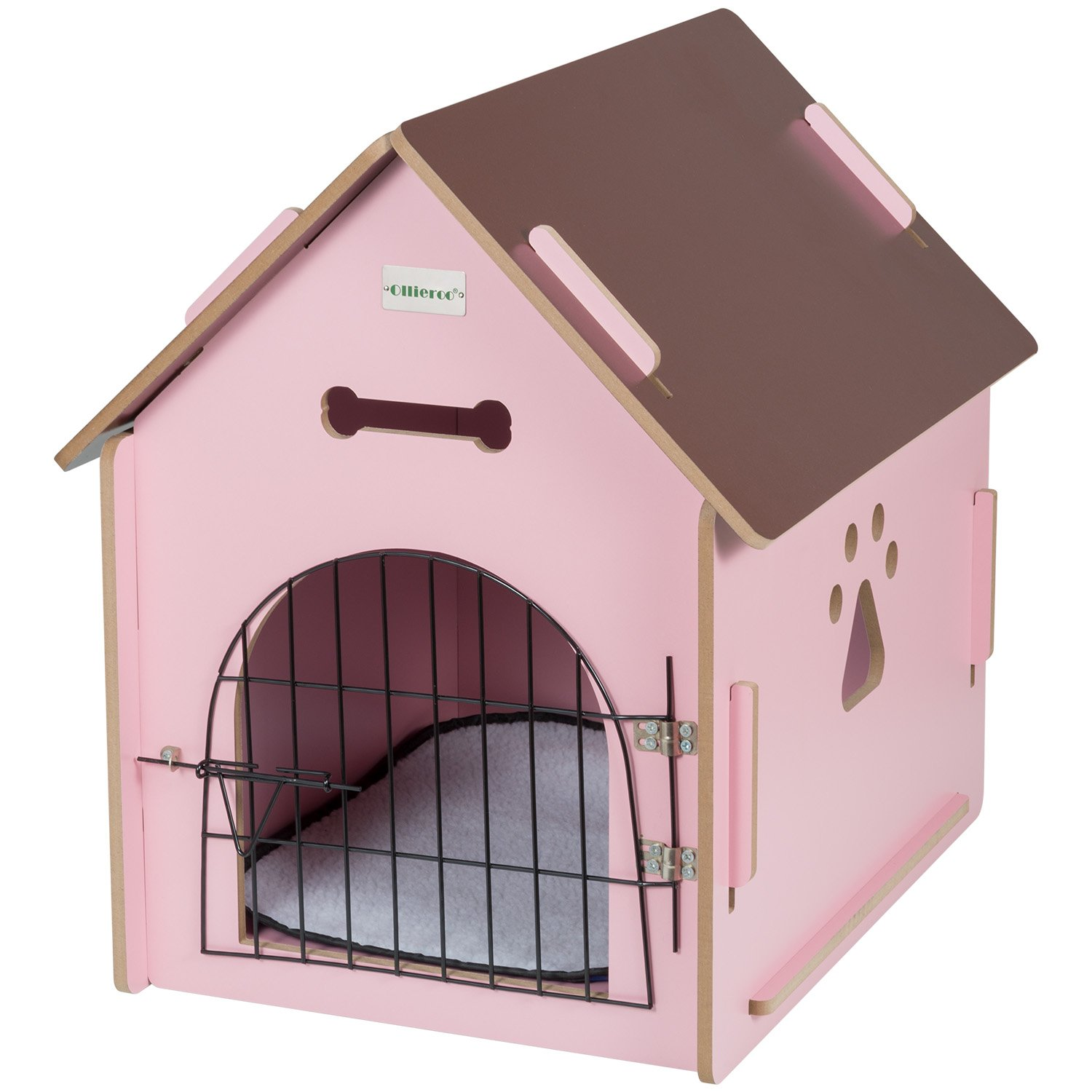 Indoor dog houses - Ollieroo Dog House Crate Wooden Kennel Indoor Condo For Small Dogs Cats Pet Home With Door