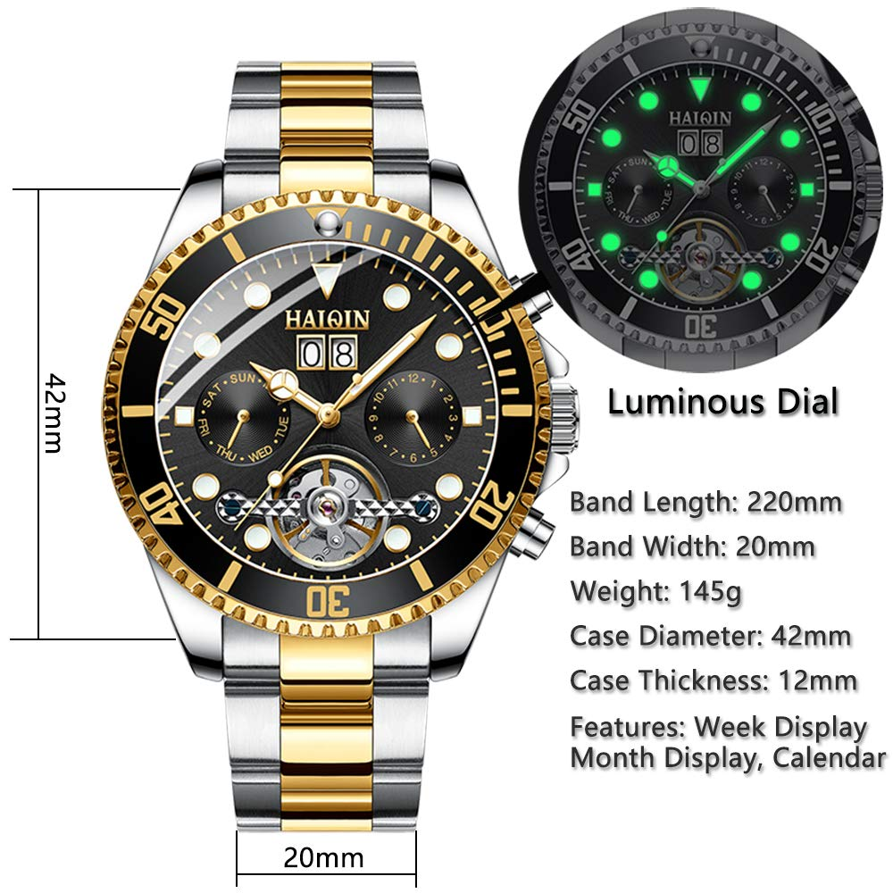 Amazon.com: Haiqin Mens Mechanical Watches Automatic Tourbillon Stainless Steel Analog Waterproof Wrist Watch for Men (Black): Watches