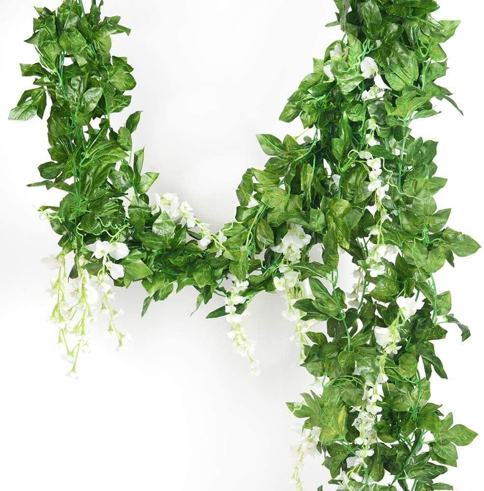 Guirnalda de 5 hilos de seda artificial de glicina, glicinas de hiedra, flores artificiales colgantes, plantas, guirnalda de hojas verdes falsas para boda, cocina, hogar, decoración de fiestas (10 m)