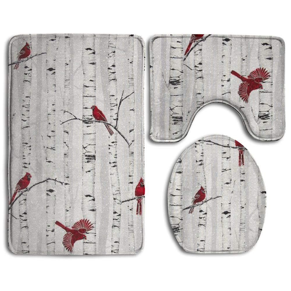 Woodsy Winter Cardinals 3-Piece Soft Bath Rug Set Includes Bathroom Mat Contour Rug Lid Toilet Cover Home Decorative Doormat CAHUI1