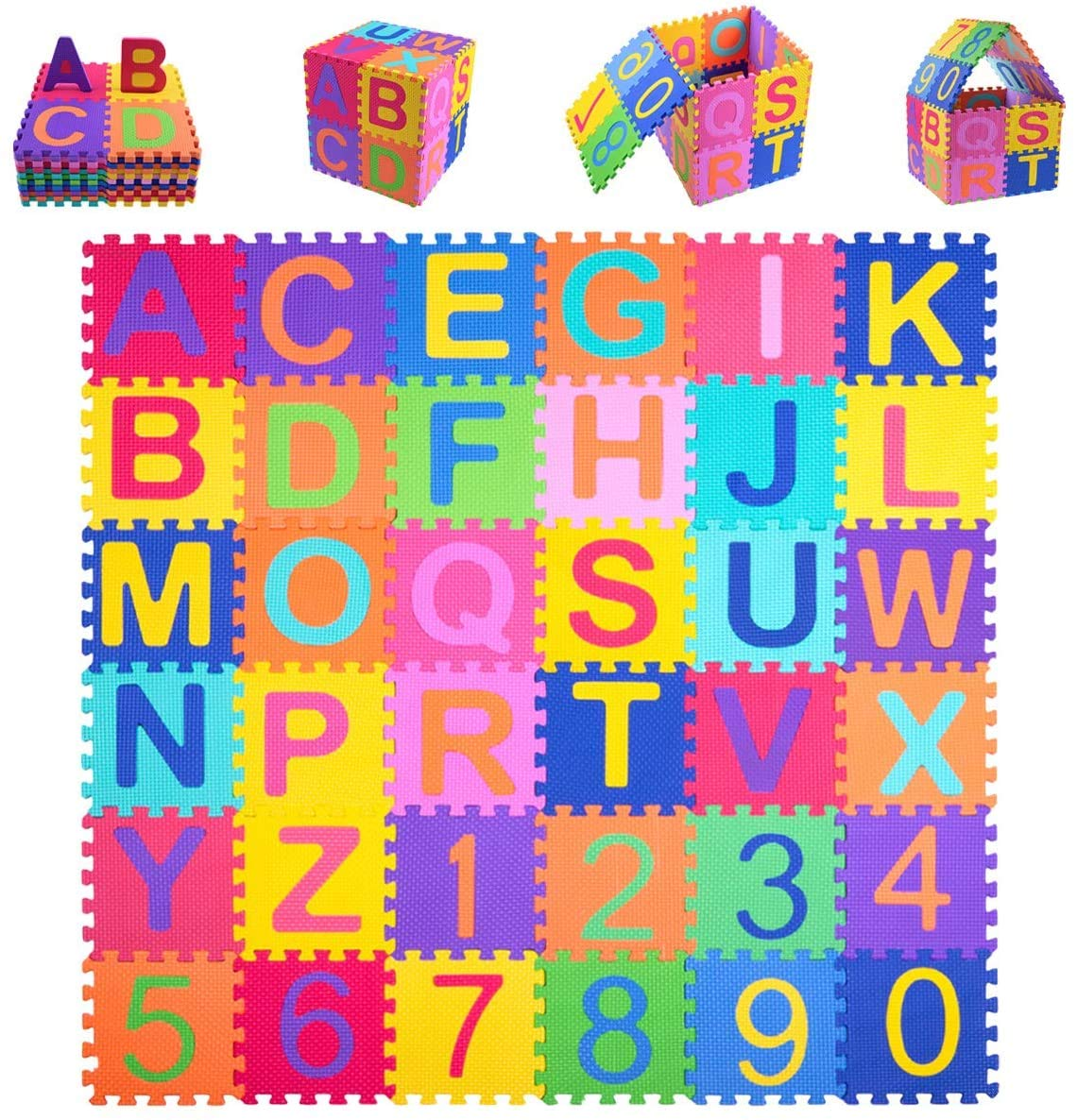 Kangler Kids Foam Puzzle Play Mat 36pcs 5.9inch x 5.9inch Interlocking EVA Floor Tiles with Alphabet and Numbers : Baby