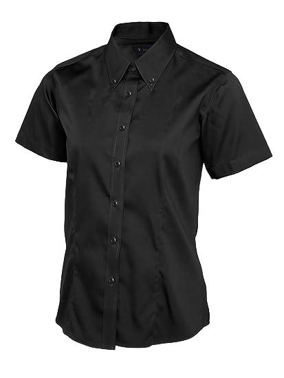 7752400eb Ladies Womens Pinpoint Oxford Short Sleeve Shirt Work Uniform Waitress  Business [Black][XS