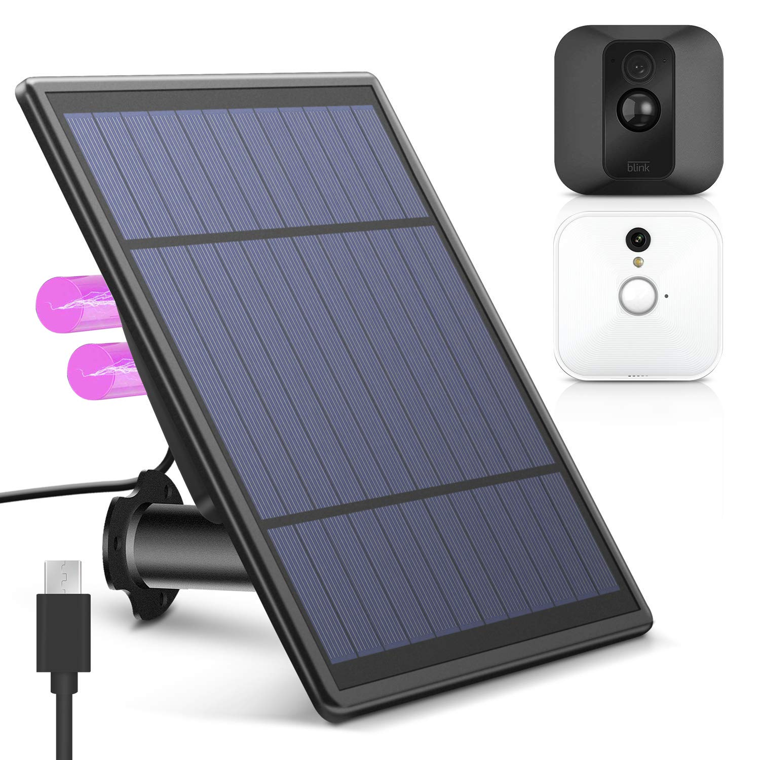 KASMOTION [Upgraded Version Solar Panel for Blink XT XT 2 Security Camera, Wall Mount Outdoor Weather Proof Solar Power Charging Panel for Blink XT XT 2 Home Security Camera System by KASMOTION