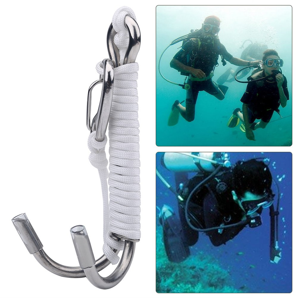 Stainless Steel Scuba Diving Double Reef Drift Hook with Line for Cave Dive Underwater Photography Safety Equipment Durable Diving Dual Hook