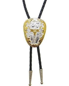 WExpress Bolo Tie Western Corbata Piel Cordón German Silver ...