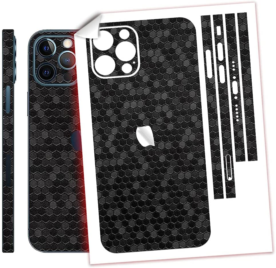 SopiGuard Sticker Skin for iPhone 12 Pro MAX Precision Edge-to-Edge Back and Sides Vinyl Decal (Honeycomb Black)