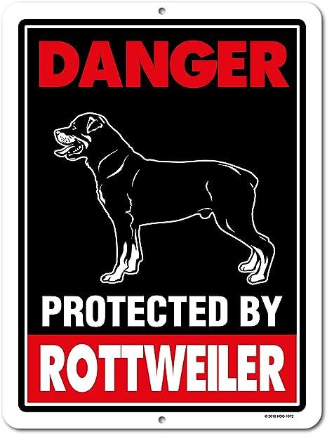 Amazon.com: Peligro protegida por Rottweiler 9 x 12 cuidado ...