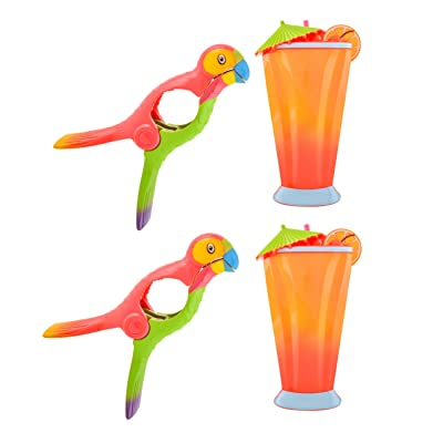 O2COOL Beach Towel Clips Set of 2 Boca Clips for Pool Chairs, Patio and Chaise - Super Cute and Fun Lounge Chair Clamps – for Cruise Ships, Vacations, Picnics and Home (2 Pack) (Cocktail/Parrot) : Industrial & Scientific
