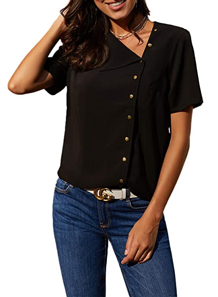 f7bdb08ff61a92 Paitluc Women Asymmetric Short Sleeve Blouse V Neck Chiffon Button Down Shirts  Tops Black