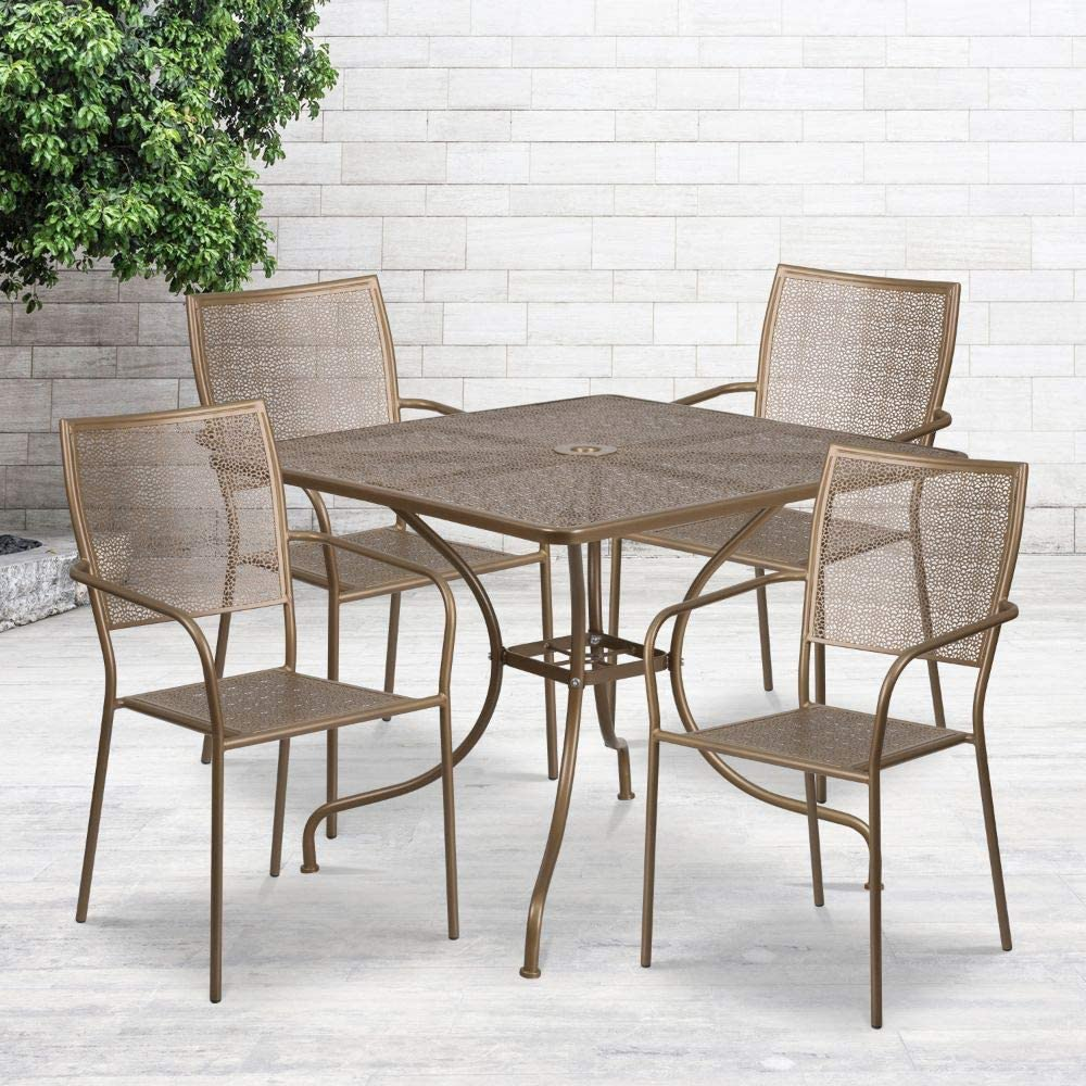 "Flash Furniture Commercial Grade 35.5"" Square Gold Indoor-Outdoor Steel Patio Table Set with 4 Square Back Chairs"