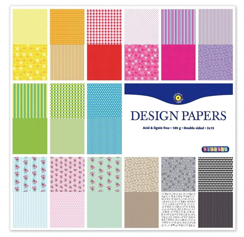 Farbton 30 Gr/ö/ßen Mehrfarbig Playbox 2471157 Design-Papier 30,5 x 30,5 cm
