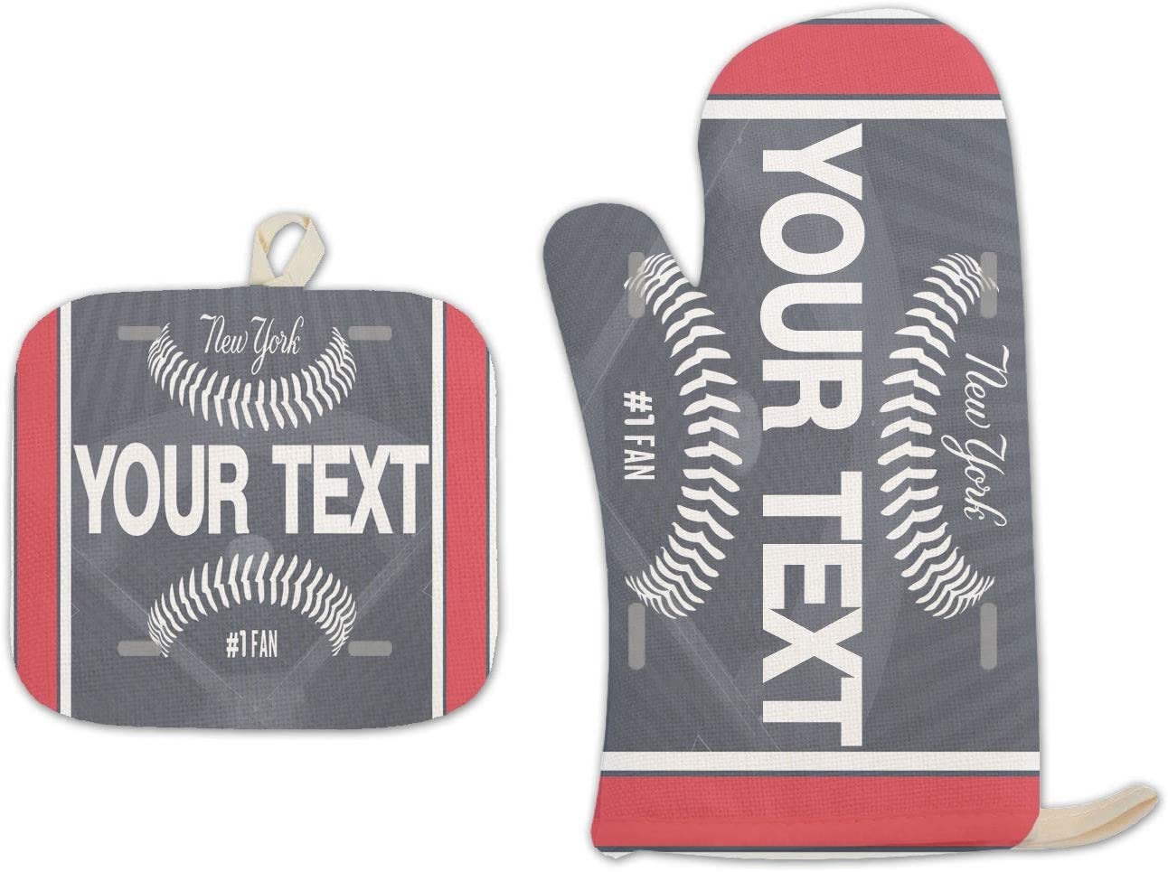 BRGiftShop Personalized Custom Name Baseball Team New York Blue Linen Oven Mitt and Potholder Set