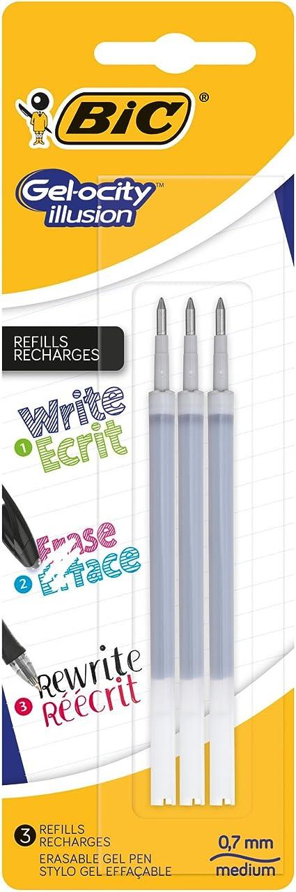 BIC Gel-ocity Illusion Recambios para Bolis de Gel Borrables punta media (0,7 mm) – Negro, Blíster de 3 unidades: Amazon.es: Oficina y papelería