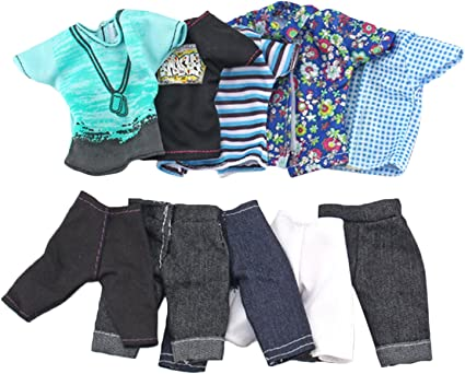 Ken Doll Gift 2 Fashion Outfits T-Shirt Jeans Pant Casual Men Clothes For 12 in