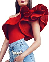 Dellytop Womens Sexy One Shoulder Ruffle Bodysuit Bodycon Jumpsuit Clubwear Beachwear Bikini Swimsuit