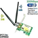 Amazon.com: Tarjeta WiFi Gigabit, tarjeta inalámbrica PCIe ...